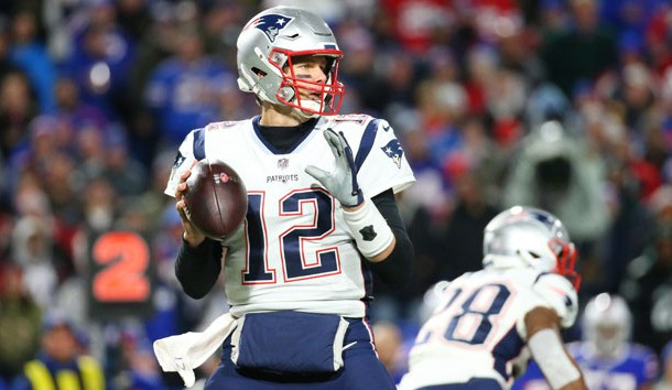 Oct 29, 2018; Orchard Park, NY, USA; New England Patriots quarterback Tom Brady (12) drops back to pass against the Buffalo Bills during the first quarter at New Era Field. Photo Credit: Rich Barnes-USA TODAY Sports