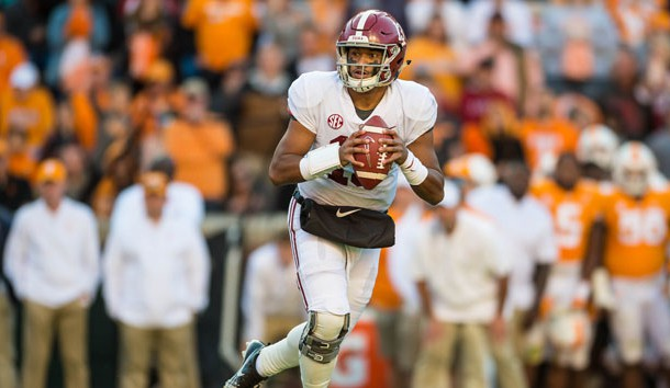 Oct 20, 2018; Knoxville, TN, USA; Alabama Crimson Tide quarterback Tua Tagovailoa (13) drops back to throw a pass in a game against the Tennessee Volunteers at Neyland Stadium. Photo Credit: Bryan Lynn-USA TODAY Sports