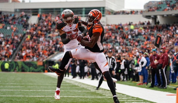 Oct 28, 2018; Cincinnati, OH, USA; Cincinnati Bengals wide receiver A.J. Green (18) catches a pass for a touchdown against Tampa Bay Buccaneers cornerback Carlton Davis (33) at Paul Brown Stadium. Photo Credit: Aaron Doster-USA TODAY Sports