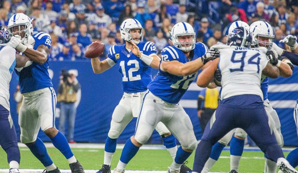 Nov 18, 2018; Indianapolis, IN, USA; Indianapolis Colts quarterback Andrew Luck (12) drops back to pass the ball in the second quarter against the Tennessee Titans at Lucas Oil Stadium. Photo Credit: Trevor Ruszkowski-USA TODAY Sports