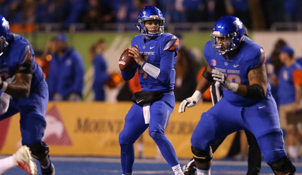 Nov 9, 2018; Boise, ID, USA; Boise State Broncos quarterback Brett Rypien (4) prepares to throw the ball during the first half against the Fresno State Bulldogs at Albertsons Stadium. Photo Credit: Brian Losness-USA TODAY Sports