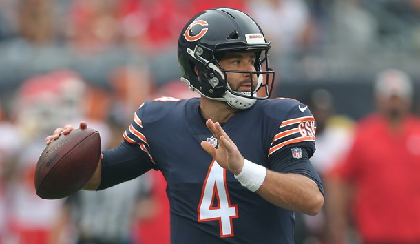 Aug 25, 2018; Chicago, IL, USA; Chicago Bears quarterback Chase Daniel (4) passes the ball during the first quarter against the Kansas City Chiefs at Soldier Field. Photo Credit: Dennis Wierzbicki-USA TODAY Sports