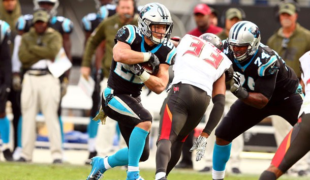 Nov 4, 2018; Charlotte, NC, USA; Carolina Panthers running back Christian McCaffrey (22) carries the ball in the fourth quarter against the Tampa Bay Buccaneers at Bank of America Stadium. Photo Credit: Jeremy Brevard-USA TODAY Sports