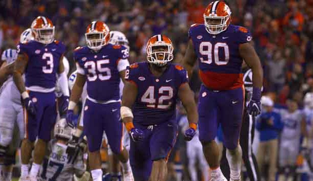 Nov 17, 2018; Clemson, SC, USA; Clemson Tigers defensive lineman Christian Wilkins (42) reacts after a play during the second half against the Duke Blue Devils at Clemson Memorial Stadium. Photo Credit: Joshua S. Kelly-USA TODAY Sports