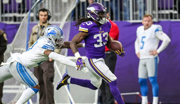 Nov 4, 2018; Minneapolis, MN, USA; Minnesota Vikings running back Dalvin Cook (33) carries the ball during the second quarter against the Detroit Lions at U.S. Bank Stadium. Photo Credit: Brace Hemmelgarn-USA TODAY Sports