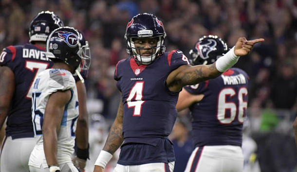 Nov 26, 2018; Houston, TX, USA;  Houston Texans quarterback Deshaun Watson (4) gestures for a first down after a 34-yard run against the Tennessee Titans in the fourth quarter at NRG Stadium. The Texans defeated the Titans 34-17.  Photo Credit: Kirby Lee-USA TODAY Sports