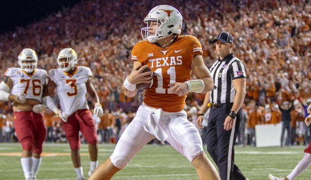Nov 17, 2018; Austin, TX, USA; Texas Longhorns quarterback Sam Ehlinger (11) looks to the official confirm the touchdown against the Iowa State Cyclones during the first quarter at Darrell K Royal-Texas Memorial Stadium. Photo Credit: John Gutierrez-USA TODAY Sports