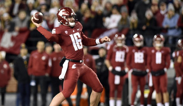 Nov 3, 2018; Pullman, WA, USA; Washington State Cougars quarterback Gardner Minshew (16) flings the ball for a completion during a football game against the California Golden Bears in the first half at Martin Stadium. Photo Credit: James Snook-USA TODAY Sports