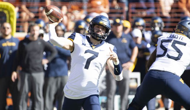 Nov 3, 2018; Austin, TX, USA; West Virginia Mountaineers quarterback Will Grier (7) throws a pass against Texas Longhorns during the first quarter at Darrell K Royal-Texas Memorial Stadium. Photo Credit: Bethany Hocker-USA TODAY Sports