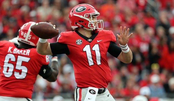 Oct 27, 2018; Jacksonville, FL, USA; Georgia Bulldogs quarterback Jake Fromm (11) throws the ball against the Florida Gators during the second half at TIAA Bank Field. Photo Credit: Kim Klement-USA TODAY Sports