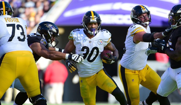 Nov 4, 2018; Baltimore, MD, USA; Pittsburgh Steelers running back James Conner (30) runs with the ball in the second quarter against the Baltimore Ravens at M&T Bank Stadium. Photo Credit: Evan Habeeb-USA TODAY Sports