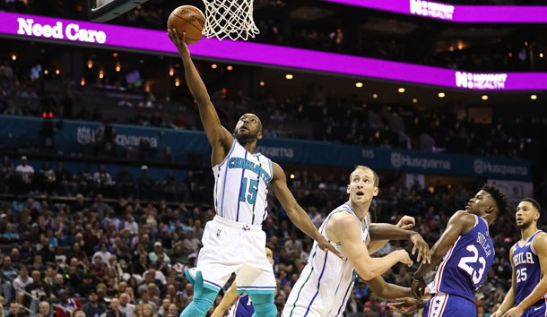 Nov 17, 2018; Charlotte, NC, USA; Charlotte Hornets guard Kemba Walker (15) goes up for a layup against the Philadelphia 76ers during the second half at Spectrum Center. Photo Credit: Jim Dedmon-USA TODAY Sports