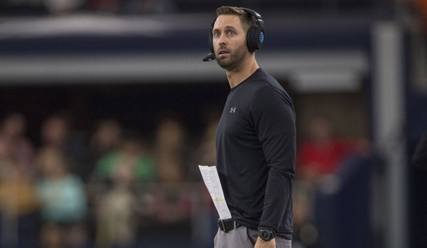 Nov 24, 2018; Arlington, TX, USA; Texas Tech Red Raiders head coach Kliff Kingsbury checks the scoreboard during the second quarter of the game against the Baylor Bears at AT&T Stadium. Photo Credit: Jerome Miron-USA TODAY Sports