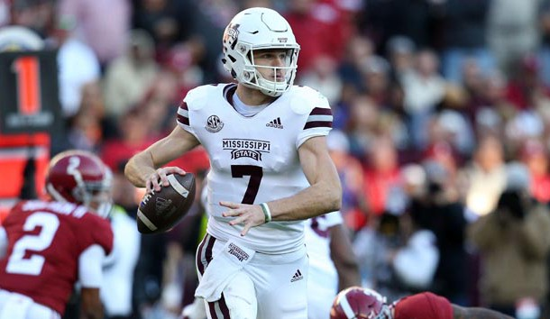 Nov 10, 2018; Tuscaloosa, AL, USA; Mississippi State Bulldogs quarterback Nick Fitzgerald (7) looks to pass against Alabama Crimson Tide during pregame at Bryant-Denny Stadium. Photo Credit: Marvin Gentry-USA TODAY Sports