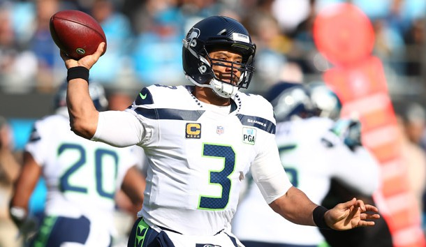 Nov 25, 2018; Charlotte, NC, USA; Seattle Seahawks quarterback Russell Wilson (3) passes the ball in the second quarter against the Carolina Panthers at Bank of America Stadium. Photo Credit: Jeremy Brevard-USA TODAY Sports