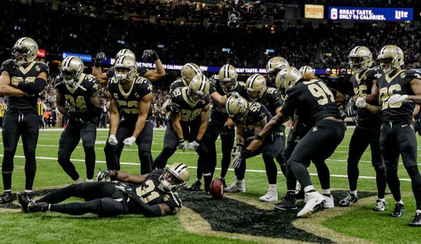Nov 22, 2018; New Orleans, LA, USA; The New Orleans Saints defense celebrates after a turnover by the Atlanta Falcons during the second half at the Mercedes-Benz Superdome. Photo Credit: Derick E. Hingle-USA TODAY Sports