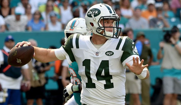 Nov 4, 2018; Miami Gardens, FL, USA; New York Jets quarterback Sam Darnold (14) throws a pass against the Miami Dolphins during the first half at Hard Rock Stadium. Photo Credit: Steve Mitchell-USA TODAY Sports