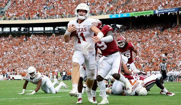 Oct 6, 2018; Dallas, TX, USA; Texas Longhorns quarterback Sam Ehlinger (11) runs for a touchdown during the first half against the Oklahoma Sooners at the Cotton Bowl. Photo Credit: Kevin Jairaj-USA TODAY Sports