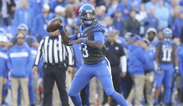 Nov 3, 2018; Lexington, KY, USA; Kentucky Wildcats quarterback Terry Wilson (3) drops back to pass the ball against the Georgia Bulldogs in the second half at Kroger Field. Photo Credit: Mark Zerof-USA TODAY Sports