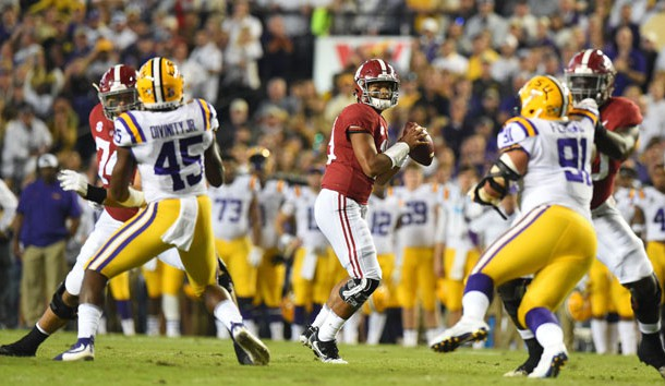 Nov 3, 2018; Baton Rouge, LA, USA; Alabama Crimson Tide quarterback Tua Tagovailoa (13) drops back to pass  against the LSU Tigers during the first quarter at Tiger Stadium. Photo Credit: John David Mercer-USA TODAY Sports