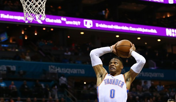 Nov 1, 2018; Charlotte, NC, USA; Oklahoma City Thunder guard Russell Westbrook (0) goes up for a dunk in the first half against the Charlotte Hornets at Spectrum Center. Photo Credit: Jeremy Brevard-USA TODAY Sports
