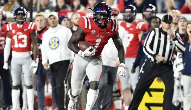 Nov 22, 2018; Oxford, MS, USA; Mississippi Rebels wide receiver A.J. Brown (1) runs the ball against the Mississippi State Bulldogs during the second quarter  at Vaught-Hemingway Stadium. Photo Credit: Matt Bush-USA TODAY Sports