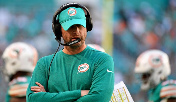 Dec 23, 2018; Miami Gardens, FL, USA; Miami Dolphins head coach Adam Gase reacts during the second half against the Jacksonville Jaguars at Hard Rock Stadium. Photo Credit: Jasen Vinlove-USA TODAY Sports