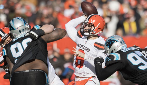 Dec 9, 2018; Cleveland, OH, USA; Cleveland Browns quarterback Baker Mayfield (6) throws a pass during the first quarter against the Carolina Panthers at FirstEnergy Stadium. Photo Credit: Ken Blaze-USA TODAY Sports