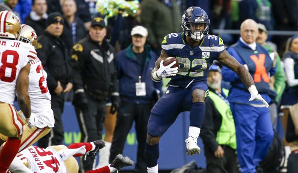 Dec 2, 2018; Seattle, WA, USA; Seattle Seahawks running back Chris Carson (32) rushes against the San Francisco 49ers during the fourth quarter at CenturyLink Field. Photo Credit: Joe Nicholson-USA TODAY Sports