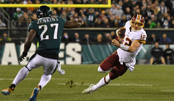Dec 3, 2018; Philadelphia, PA, USA; Washington Redskins quarterback Colt McCoy (12) carries the ball as Philadelphia Eagles strong safety Malcolm Jenkins (27) defends in the second quarter at Lincoln Financial Field. Photo Credit: James Lang-USA TODAY Sports