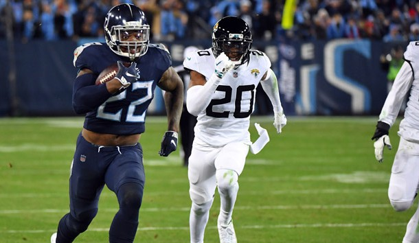 Dec 6, 2018; Nashville, TN, USA; Tennessee Titans running back Derrick Henry (22) runs for a touchdown during the second half against the Jacksonville Jaguars at Nissan Stadium. Photo Credit: Christopher Hanewinckel-USA TODAY Sports