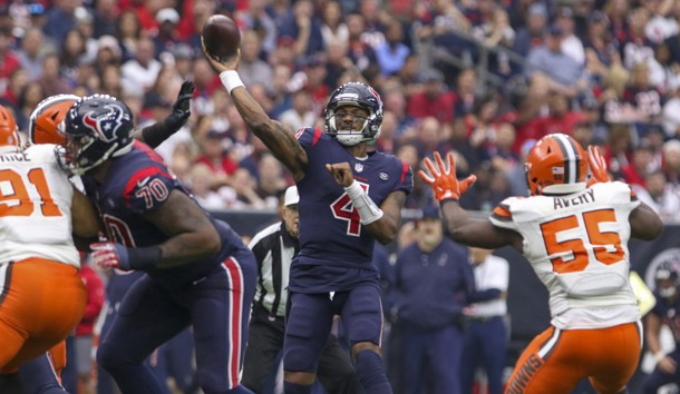 Dec 2, 2018; Houston, TX, USA; Houston Texans quarterback Deshaun Watson (4) throws a pass during the second quarter against the Cleveland Browns at NRG Stadium. Photo Credit: John Glaser-USA TODAY Sports