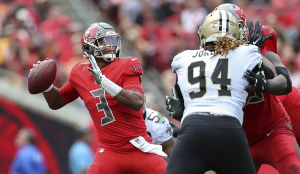 Dec 9, 2018; Tampa, FL, USA; Tampa Bay Buccaneers quarterback Jameis Winston (3) throws during the second half against the New Orleans Saints at Raymond James Stadium. Photo Credit: Kevin Jairaj-USA TODAY Sports
