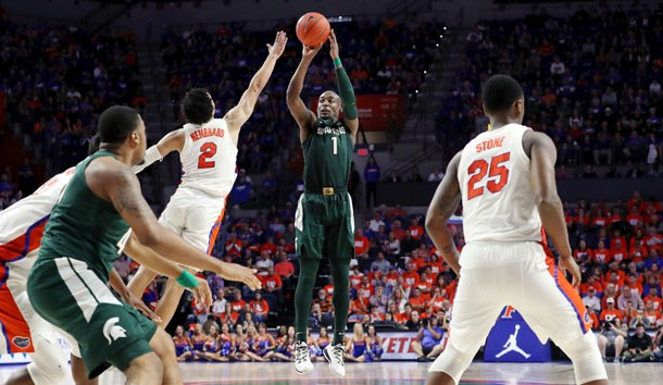 Dec 8, 2018; Gainesville, FL, USA; Michigan State Spartans guard Joshua Langford (1) shoots over Florida Gators guard Andrew Nembhard (2) during the second half at Exactech Arena. Photo Credit: Kim Klement-USA TODAY Sports