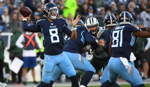 Dec 2, 2018; Nashville, TN, USA; Tennessee Titans quarterback Marcus Mariota (8) attempts a pass during the first half against the New York Jets at Nissan Stadium. Photo Credit: Christopher Hanewinckel-USA TODAY Sports