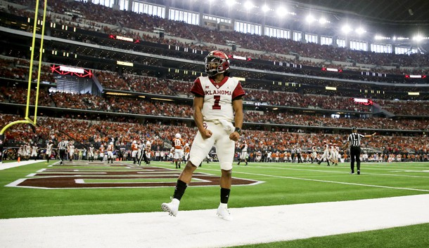 Dec 1, 2018; Arlington, TX, USA; Oklahoma Sooners quarterback Kyler Murray (1) celebrates after throwing a touchdown pass during the first half against the Texas Longhorns in the Big 12 Championship game at AT&T Stadium. Photo Credit: Kevin Jairaj-USA TODAY Sports