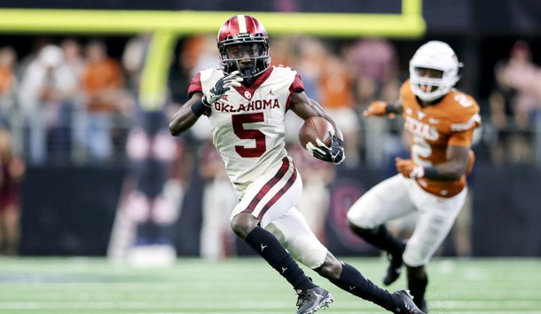 Dec 1, 2018; Arlington, TX, USA; Oklahoma Sooners wide receiver Marquise Brown (5) runs during the game against the Texas Longhorns in the Big 12 Championship game at AT&T Stadium. Photo Credit: Kevin Jairaj-USA TODAY Sports