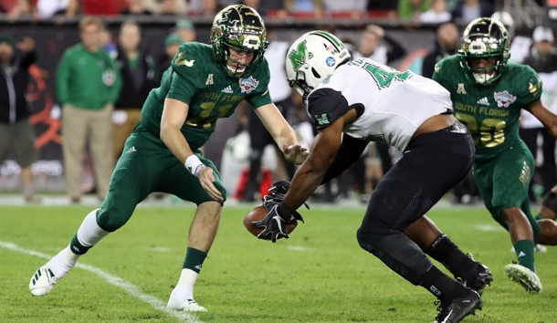 Dec 20, 2018; St. Petersburg, FL, USA; Marshall Thundering Herd defensive lineman Darius Hodge (44) recovers a fumble from South Florida Bulls quarterback Blake Barnett (11)  during the first quarter in the 2018 Gasparilla Bowl at Tropicana Field. Photo Credit: Kim Klement-USA TODAY Sports