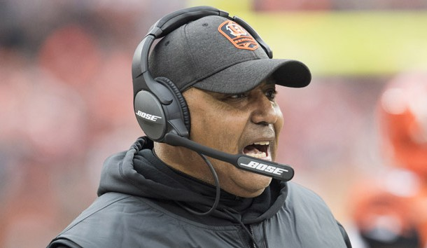 Dec 23, 2018; Cleveland, OH, USA; Cincinnati Bengals head coach Marvin Lewis yells from the sideline during the first half against the Cleveland Browns at FirstEnergy Stadium. Photo Credit: Ken Blaze-USA TODAY Sports