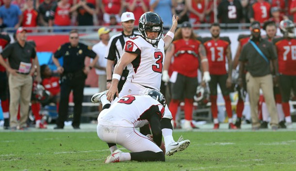 Dec 30, 2018; Tampa, FL, USA; Atlanta Falcons kicker Matt Bryant (3) kicks the game winning 37-yard field goal as Atlanta Falcons punter Matt Bosher (5) holds the ball against the Tampa Bay Buccaneers as time expires to end the game at Raymond James Stadium. Photo Credit: Kim Klement-USA TODAY Sports