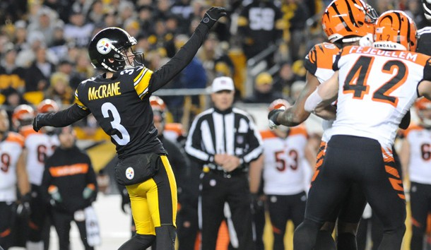 Dec 30, 2018; Pittsburgh, PA, USA; Pittsburgh Steelers kicker Matt McCrane (3) kicks the game winning field goal against the Cincinnati Bengals at Heinz Field. Photo Credit: Philip G. Pavely-USA TODAY Sports