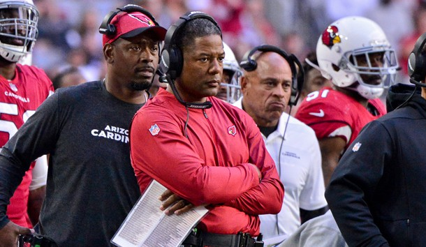 Dec 23, 2018; Glendale, AZ, USA; Arizona Cardinals head coach Steve Wilks looks on during the first half against the Los Angeles Rams at State Farm Stadium. Photo Credit: Matt Kartozian-USA TODAY Sports