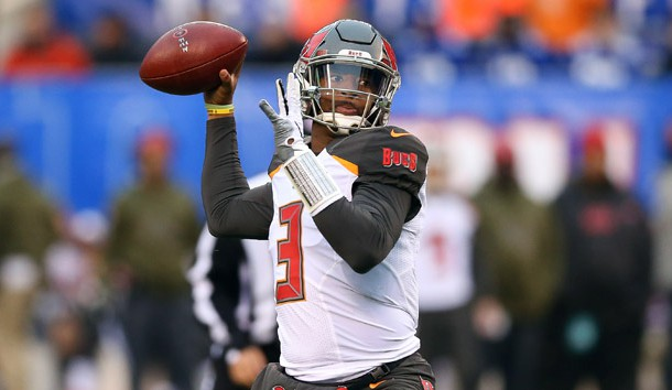 Nov 18, 2018; East Rutherford, NJ, USA; Tampa Bay Buccaneers quarterback Jameis Winston (3) drops back to pass during the second half against the New York Giants at MetLife Stadium. Photo Credit: Vincent Carchietta-USA TODAY Sports