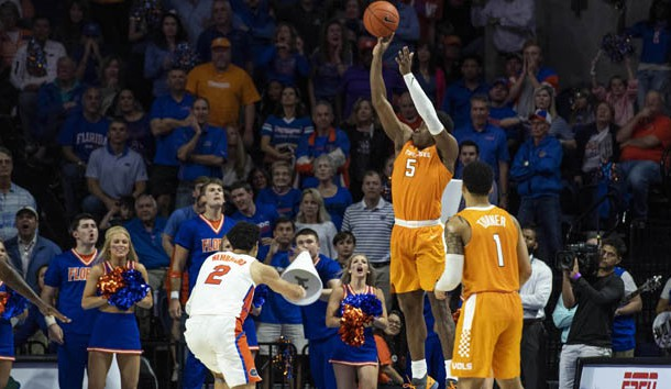 Jan 12, 2019; Gainesville, FL, USA; Tennessee Volunteers guard Admiral Schofield (5) shoots a three pointer in front of Florida Gators guard Andrew Nembhard (2) during the second half at Exactech Arena. Photo Credit: Douglas DeFelice-USA TODAY Sports