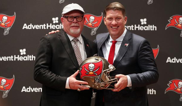 Jan 10, 2019; Tampa, FL, USA; Tampa Bay Buccaneers general manager Jason Licht and head coach Bruce Arians pose for a photo at AdventHealth Training Center. Photo Credit: Kim Klement-USA TODAY Sports