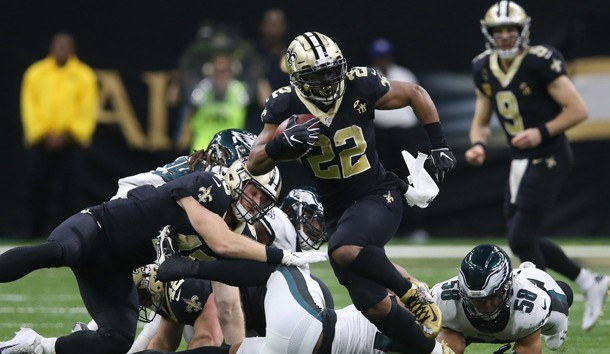 Jan 13, 2019; New Orleans, LA, USA; New Orleans Saints running back Mark Ingram (22) runs against the Philadelphia Eagles during the fourth quarter of a NFC Divisional playoff football game at Mercedes-Benz Superdome. Photo Credit: Chuck Cook-USA TODAY Sports