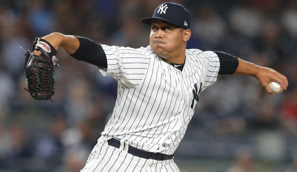 Justus Sheffield (61) pitches against the Boston Red Sox during the ninth inning at Yankee Stadium. The appearance was Sheffield's major league debut. Photo Credit: Brad Penner-USA TODAY Sports