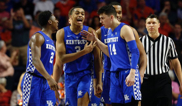 Feb 2, 2019; Gainesville, FL, USA; Kentucky Wildcats guard Keldon Johnson (3), guard Ashton Hagans (2), guard Tyler Herro (14), forward PJ Washington (25) celebrate against the Florida Gators during the second half at Exactech Arena. Photo Credit: Kim Klement-USA TODAY Sports