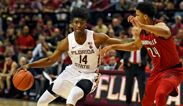 Feb 9, 2019; Tallahassee, FL, USA; Louisville Cardinals forward Dwayne Sutton (24) pressures Florida State Seminoles guard Terance Mann (14) during the second half at Donald L. Tucker Center. Photo Credit: Melina Myers-USA TODAY Sports