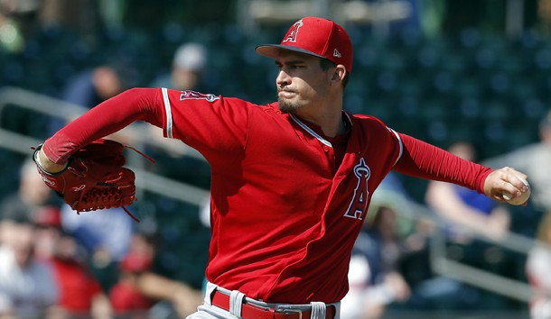 Feb 26, 2019; Mesa, AZ, USA; Los Angeles Angels starting pitcher Andrew Heaney (28) throws against the Oakland Athletics in the first inning during a spring training game at HoHoKam Stadium. Photo Credit: Rick Scuteri-USA TODAY Sports